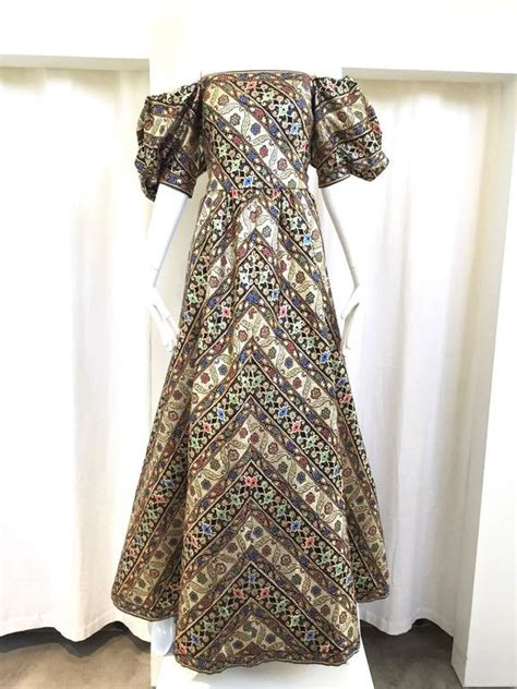 S10 Puff Brocade Dress Dress 1980s leonard metallic floral broacade gown with puff sleeve for sale at 1stdibs