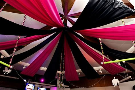 black draping black hot pink ceiling draping black n white wedding
