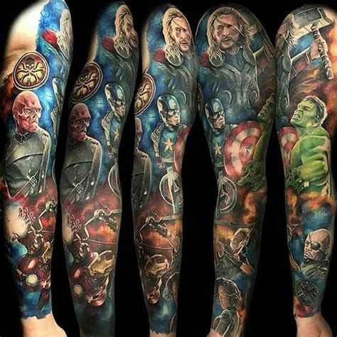 marvel sleeve tattoo marvel tattoos for ideas and inspiration for guys