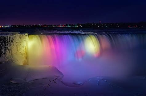 niagara falls light show flowing ice edged particolored 171 big apple dayze