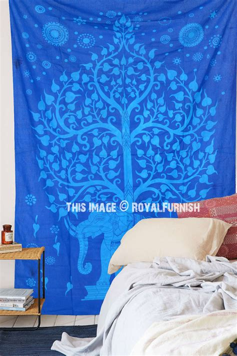 twin bed cover blue tie dye elephant tree wall tapestry indian twin bed cover royalfurnish com