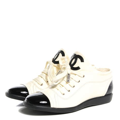 chanel sneakers chanel lambskin patent cap toe cc sneakers 37 5 white
