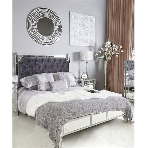 silver mirror king size bed frame french furniture