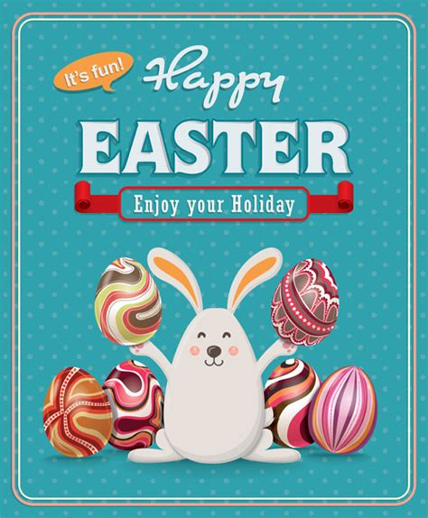 posters for easter vintage easter poster vector set 06 vector cover