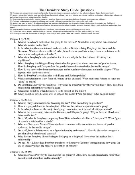 The Outsiders Book Essay by The Outsiders Chapter Questions The Outsiders Study Guide Questions Turner