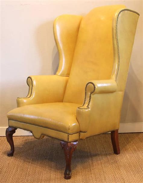 mustard yellow leather wing chair  stdibs