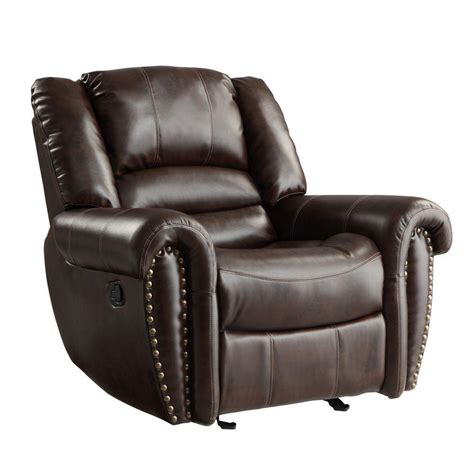 chocolate leather recliner homesullivan merida chocolate bonded leather recliner