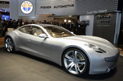 Electric Car Fisker Tesla Karma Automotive Recharged Electric Car Company Poses