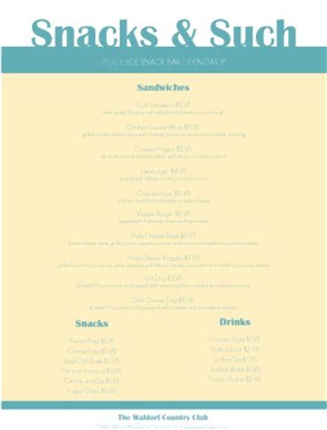 Snack Bar Menu Template snack bar menu country club menu