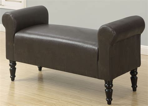 brown leather bench style dark brown leather bench from monarch coleman furniture