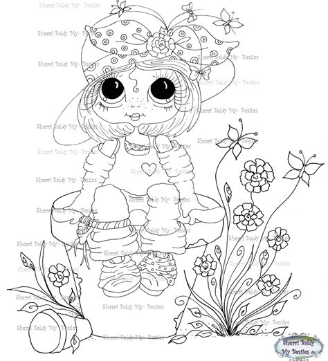 my besties flower petal pots coloring book books instant digital digi sts big eye big