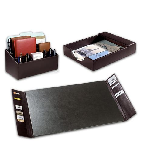 Desk Accessory Bomber Jacket Desk Set Three Pieces Leather Desk Accessories Desk Organizers Levenger