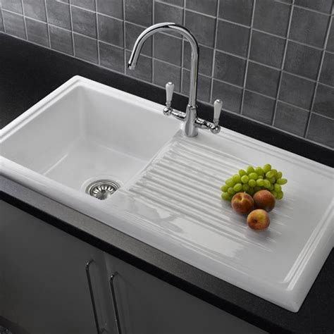 Reginox White Ceramic 1 0 Bowl Kitchen Sink With Mixer Tap Ceramic White Kitchen Sink