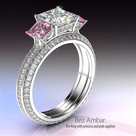 three princess and pink sapphire engagement ring