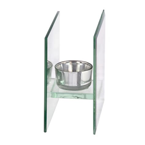 Single Glass Tea Light Candle Holder Silver Mirrored Backing