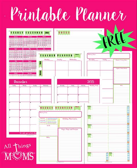 free printable planner pages for moms printable planner all things moms