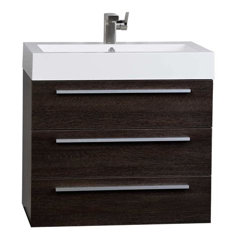 Bathroom Vanities Wall Mount Modern 29 5 Inch Wall Mounted Single Bathroom Vanity Set In Alamo Oak Optional Mirror Rs R750 Ao