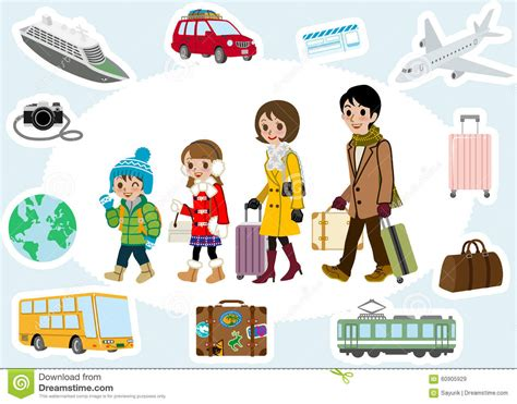 winter family traveler and transportation set stock vector image 60905929