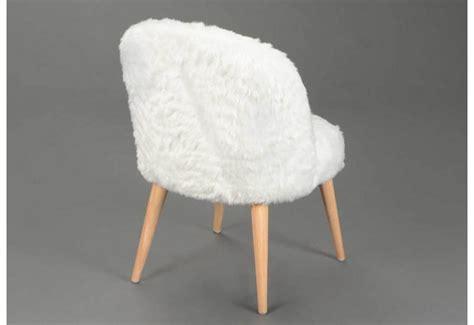 chaise fausse fourrure blanche lot de 2 amadeus 26450
