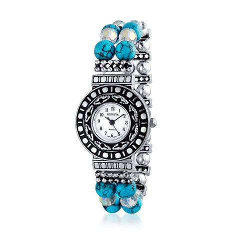 beaded watches silver plated simulated turquoise southwestern style