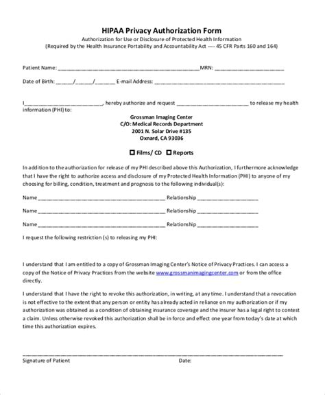 privacy release form template hipaa policy
