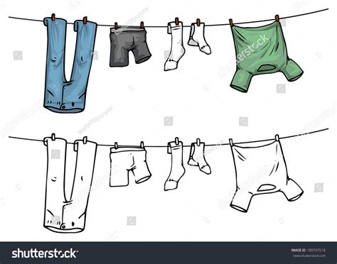 Backyard Clothesline Hanging Clothes On Washing Line Color Stock Vector
