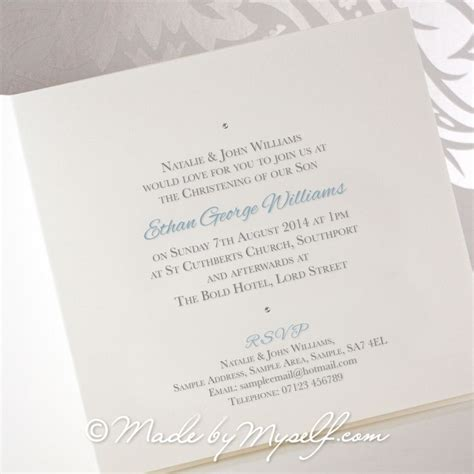Custome Printed Wedding Invitations by Custom Photo Christening Invitation With Printed Ribbon