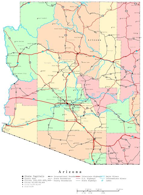 arizona county map with roads arizona printable map