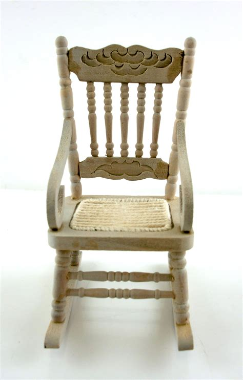 Unfinished Rocking Chair by Dolls House Miniature Furniture Unfinished Wood