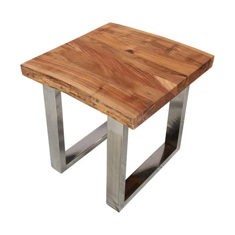 natural wood side table natural edge acacia wood steel 25 square end table