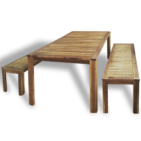 wooden outdoor table with bench seats outdoor wooden patio dining bench chair table set buy