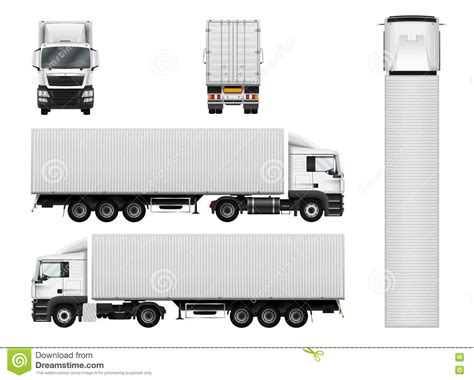 vector semi truck template with cargo container truck