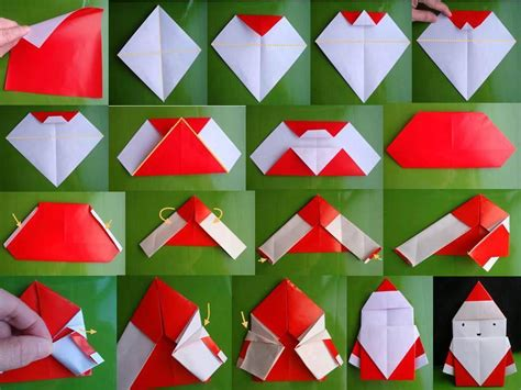 Folding Origami Paper Crafts - how to fold origami paper craft santa step by step diy