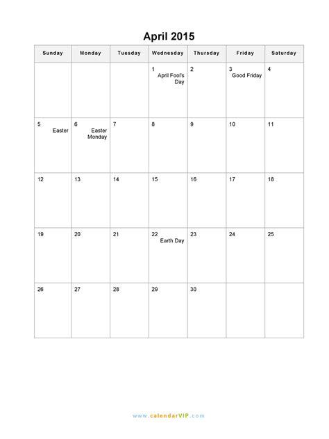 Blank Calendar April 2015 April 2015 Calendar Blank