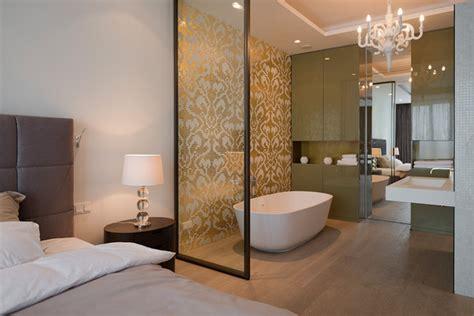 open plan bedroom ensuite lighting details create drama in modern open plan