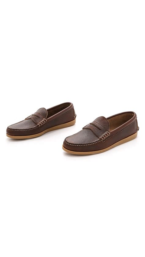 quoddy loafers quoddy pebbled loafers in brown for lyst