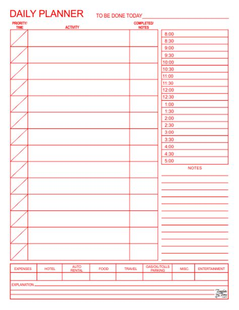 printable daily planner for excel daily planner template cyberuse