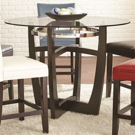 round glass bistro table set steve silver matinee round counter height table with glass