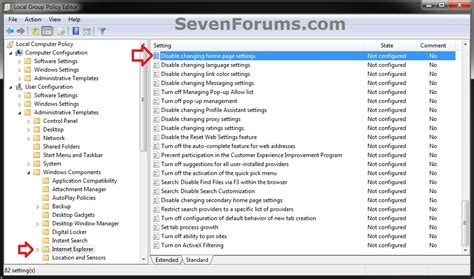 explorer home page specify and prevent changing