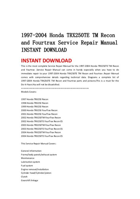service manual auto repair manual online 1997 honda del sol electronic throttle control 1992 1997 2004 honda trx250 te tm recon and fourtrax service repair manual