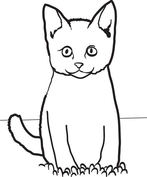 easy coloring pages of cats cat sitting in grass free printable coloring page for kids