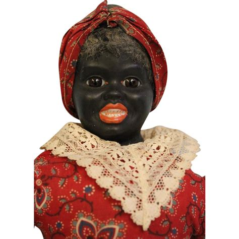 bisque black doll 14 quot antique german bisque black mammy doll original