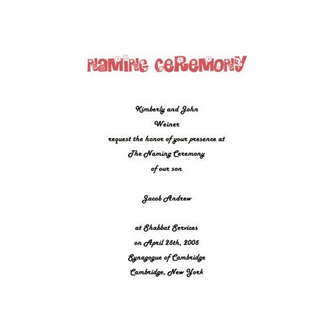 naming ceremony invitation templates free naming ceremony invitations 4 wording free geographics