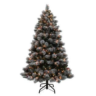 never out clear lights d b 6 5 pre lit flocked buchanan pine tree sears