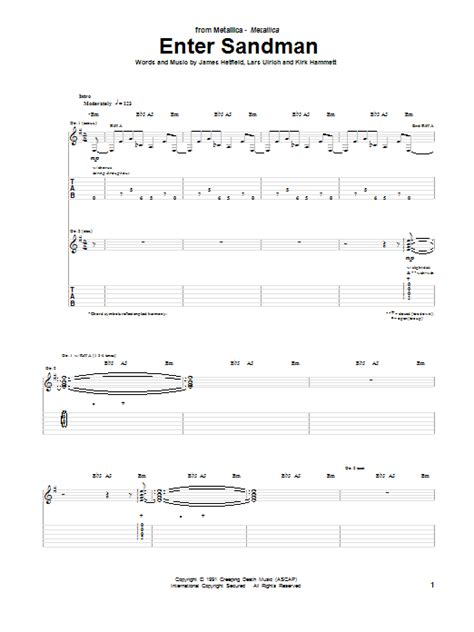 guitar tutorial enter sandman enter sandman guitar tab by metallica guitar tab 94420