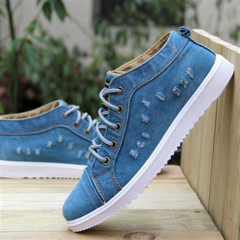 Flat Shoes Denim Wanita style fashion vintage denim jean canvas shoes high top casual ankle boots flat