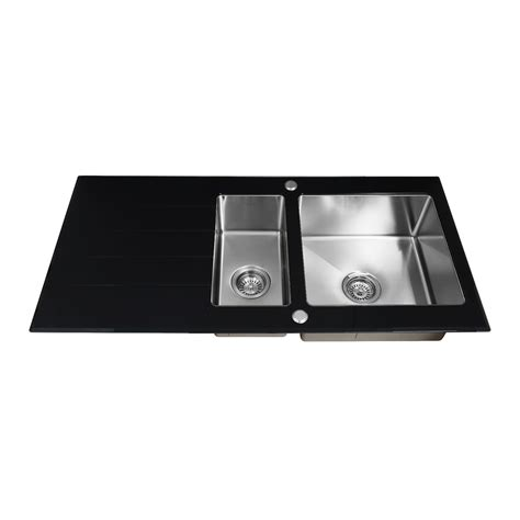 glass kitchen sink enki black glass kitchen sink 1 5 one half bowl inset