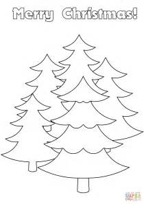 Merry Christmas Card With Trees Coloring Page Free Merry Tree Coloring Page