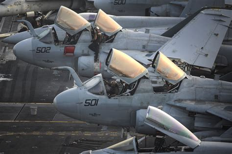 Ea Background Check File U S Navy Plane Captains Run Checks On Ea 6b Prowlers Before Flight Operations On