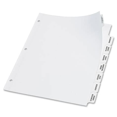 avery 8 tab clear label dividers template avery big tab index maker clear label divider ld products